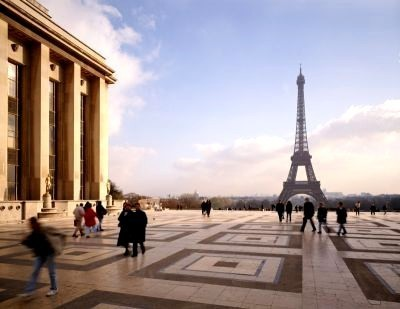 Вид на Эйфелеву башню от дворца Шайо
