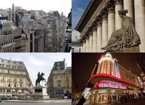 Здания 2 округа Парижа, Биржа, кинотеатр Рекс, площадь Побед (по часововй стрелке)